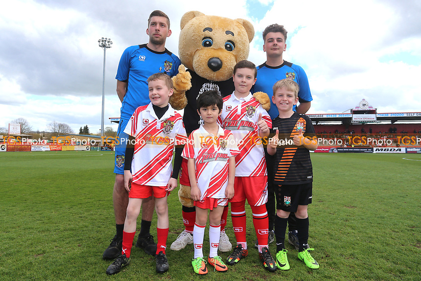 Boro Bear and the Stevenage mascots during Stevenage vs Barnet, Sky Bet EFL League 2 Football at the Lamex Stadium on 1st April 2017