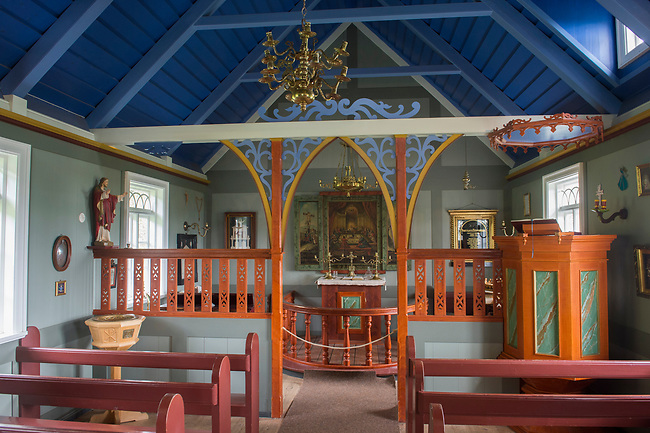 The interior of the church at the Skogar folk museum in southern Iceland.