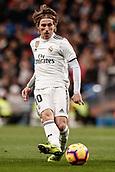 3rd February 2019, Santiago Bernabeu, Madrid, Spain; La Liga football, Real Madrid versus Alaves; Luka Modric (Real Madrid) plays the ball through into the box