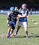 1310/2015   Action from Sixmilebridge where Sr Flannen's College took on Castletroy College in the Harty Cup.  Our photograph shows Darragh Ryan, Flannens keeper getting to the ball ahead of daniel Minihan, Castletroy.<br /> Photograph Liam Burke/Press 22