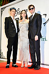 "(L-R) Japanese musician MIYAVI, actors Angelina Jolie and Sam Riley attend a Japan premiere for Disney's ""Maleficent: Mistress of Evil"" on October 3, 2019, in Tokyo, Japan. The movie is a sequel to 2014 hit ""Maleficent"" and will be released on October 18. (Photo by AFLO)"