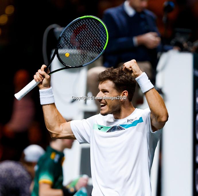 Rotterdam, The Netherlands, 14 Februari 2020, ABNAMRO World Tennis Tournament, Ahoy, Pablo Carreno Busta (ESP) celebrates his win.<br /> Photo: www.tennisimages.com