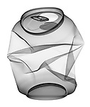 X-ray image of an aluminum can (black on white) by Jim Wehtje, specialist in x-ray art and design images.