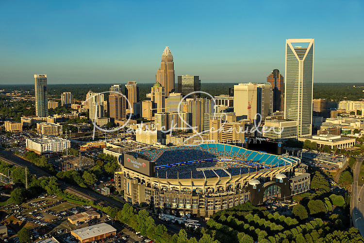 Aerial photography of the Charlotte, North Carolina skyline. The skyline views of Bank of America Corporate Center, Duke Energy Center, Bank of America Stadium and the Charlotte Knights Baseball Stadium.<br /> <br /> Charlotte Photographer - Patrick SchneiderPhoto.com