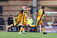 Port Vales Jake Taylor scores Vales 3rd goal past O's DEan Brill and celebrtes during Leyton Orient vs Port Vale, Sky Bet EFL League 2 Football at The Breyer Group Stadium on 28th September 2019