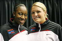 SAN ANTONIO, TX - APRIL 3: Tina Charles and Jayne Appel during the State Farm Coaches' All-America Team announcements on April 3, 2010 in San Antonio, Texas.