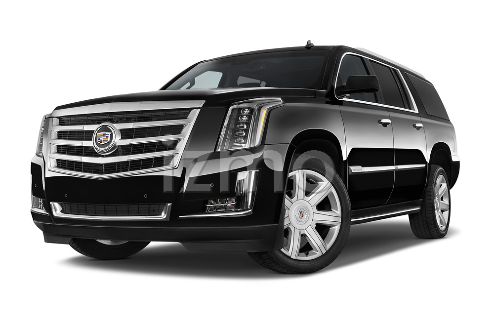 Stock pictures of low aggressive front three quarter view of a 2015 Cadillac Escalade ESV 2WD Luxury 5 Door SUV Low Aggressive