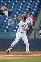 Tampa Tarpons catcher Keith Skinner (10) at bat during a game against the Daytona Tortugas on April 18, 2018 at George M. Steinbrenner Field in Tampa, Florida.  Tampa defeated Daytona 12-0.  (Mike Janes/Four Seam Images)
