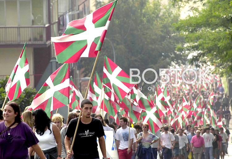Basque nationalists take part in a demonstration against a visit of the Spanish Royalty to the Basque Country on September, 16th 2000, in the town of Hernani, Basque Country. (Ander Gillenea / Bostok Photo)