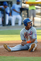 Kingsport Mets infielder Mark Vientos (13) after scoring a run during a game against the Burlington Royals at Burlington Athletic Complex on July 28, 2018 in Burlington, North Carolina. Burlington defeated Kingsport 4-3. (Robert Gurganus/Four Seam Images)