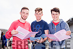 Jesse Stafford Lacey, Rory Hill and Kevin Murphy sat their first Leaving Cert exam in Mercy Mounthawk Secondary School on Wednesday (yesterday) morning.