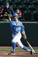 Pat Valaika #10 of the UCLA Bruins bats against the Baylor Bears at Jackie Robinson Stadium on February 25, 2012 in Los Angeles,California. UCLA defeated Baylor 9-3.(Larry Goren/Four Seam Images)