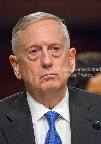 """United States Secretary of Defense James N. Mattis gives testimony before the US Senate Committee on Armed Services on """"the Department of Defense budget posture in review of the Defense Authorization Request for Fiscal Year 2018 and the Future Years Defense Program"""" on Capitol Hill in Washington, DC on Tuesday, June 13, 2017.<br /> Credit: Ron Sachs / CNP"""