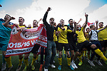 Visiting players celebrating promotion after East Stirlingshire took on Edinburgh City in the second leg of the Scottish League pyramid play-off at Ochilview Park, Stenhousemuir. The play-offs were introduced in 2015 with the winners of the Highland and Lowland Leagues playing-off for the chance to play the club which finished bottom of Scottish League 2. Edinburgh City won the match 1-0 giving them a 2-1 aggregate victory making them the first club in Scottish League history to be promoted into the league.