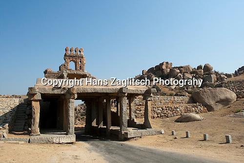 Eingang zur archäologischen Zone von Hampi, Karnataka, Indien