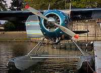Cessna 195 on floats docked at the Skylark Motel dock, Seaplane Splash-In, Lakeport, California, Lake County, California