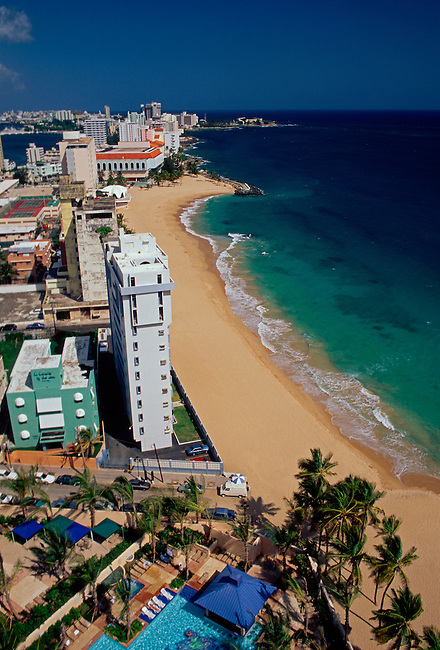 Beach and hotels along Atlantic Ocean, Condado, San Juan, Puerto Rico, West Indies