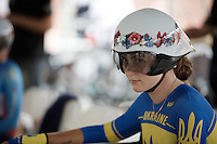 Hanna Solovey (UKR) and her floral themed helmet waiting to mount the start ramp<br /> <br /> Women TT<br /> UCI Road World Championships / Richmond 2015