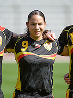 20140407 - BRUSSELS , BELGIUM : Belgian Lola Wajnblum pictured during the female soccer match between CZECH REPUBLIC U19 and BELGIUM U19 , in the second game of the Elite round in group 4 in the UEFA European Women's Under 19 competition 2014 in the Koning Boudewijn Stadion , Monday 7 April 2014 in Brussels . PHOTO DAVID CATRY