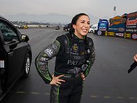 Nov 12, 2017; Pomona, CA, USA; NHRA funny car driver Alexis DeJoria during the Auto Club Finals at Auto Club Raceway at Pomona. Mandatory Credit: Mark J. Rebilas-USA TODAY Sports