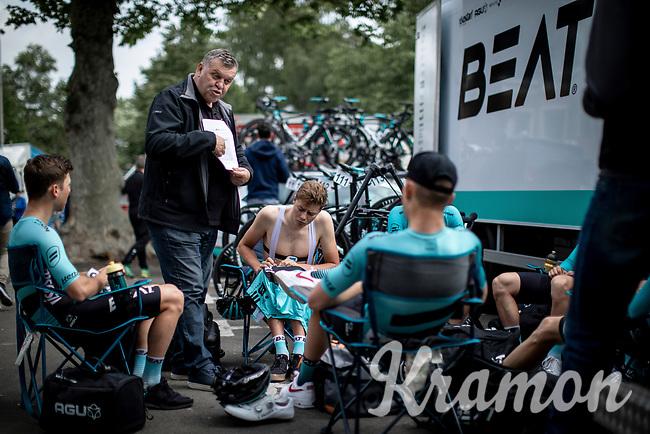 Team Beat Cycling Club pre race briefing.<br /> <br /> GP Marcel Kint 2019 (BEL)<br /> One Day Race: Kortrijk – Zwevegem 188.10km. (UCI 1.1)<br /> Bingoal Cycling Cup 2019