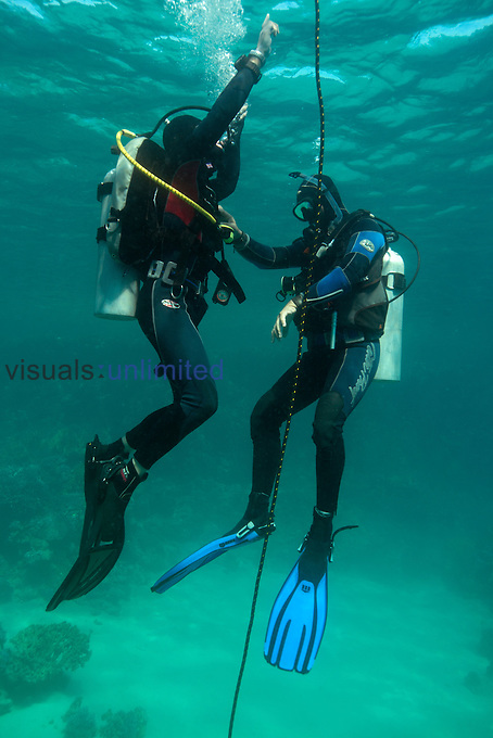 Student learning to scuba dive, demonstrating a controlled ascent to the surface with instructor, Red Sea, Egypt.