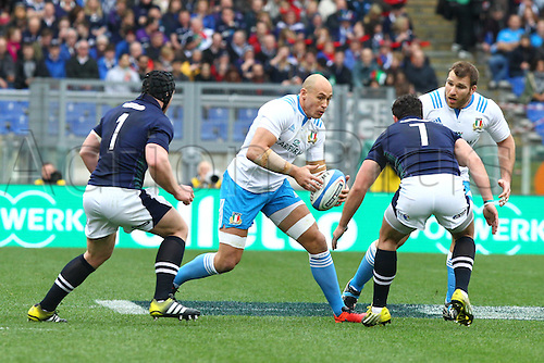 27.02.2016. Stadio Olimpico, Rome, Italy. RBS Six Nations Championships. Italy versus Scotland. PARISSE SERGIO is covered by John Hardie and Alasdair Dickinson