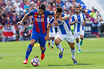 FC Barcelona's Luis Suarez Club Deportivo Leganes's Unai Bustinza  during the match of La Liga between Club Deportivo Leganes and Futbol Club Barcelona at Butarque Estadium in Leganes. September 17, 2016. (ALTERPHOTOS/Rodrigo Jimenez)