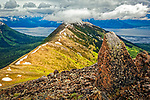 View of Bird Ridge and Turnagain Arm under clouds. Chuach State Park, Southcentral Alaska, Summer.