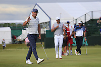 Brooks Koepka (USA) sinks his putt on the 8th green during Friday's Round 2 of the 118th U.S. Open Championship 2018, held at Shinnecock Hills Club, Southampton, New Jersey, USA. 15th June 2018.<br /> Picture: Eoin Clarke | Golffile<br /> <br /> <br /> All photos usage must carry mandatory copyright credit (&copy; Golffile | Eoin Clarke)