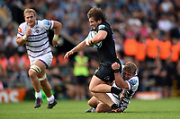 Alec Hepburn of Exeter Chiefs is tackled by Tom Youngs of Leicester Tigers. Gallagher Premiership match, between Exeter Chiefs and Leicester Tigers on September 1, 2018 at Sandy Park in Exeter, England. Photo by: Patrick Khachfe / JMP