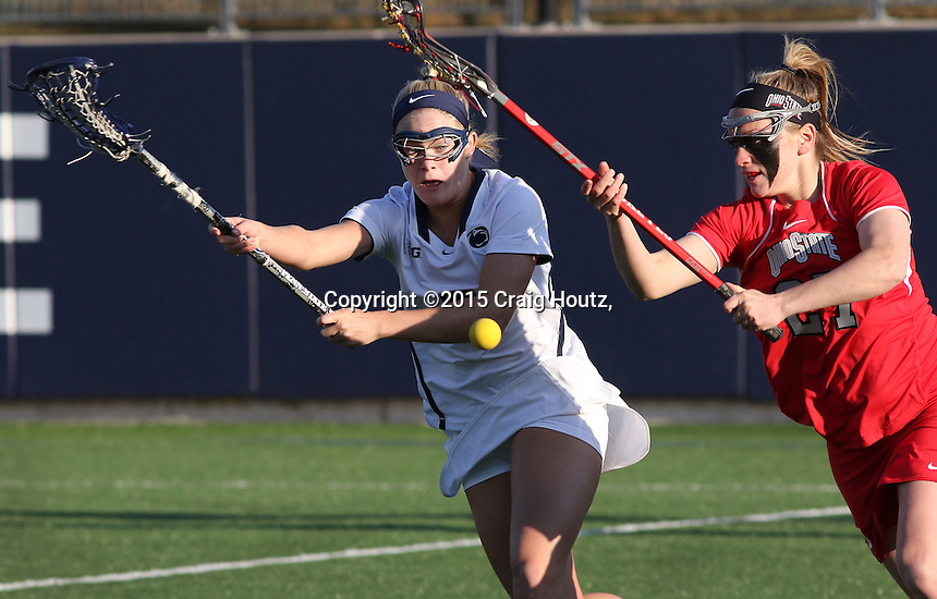 Penn State's Katie O'Donnell (5) against Ohio State's Kelsea Ayers (27) on April 4, 2015. No. 12 Penn State defeated No.18 Ohio State 14-13. Photo/© 2015 Craig Houtz