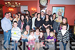 CHEERS: Cheers for Katie O'Donoghue (seated centre) as she celebrated her 50th birthday with her family and friends in The Imperial Hotel, Tralee on Sunday................. . ............................... ..........