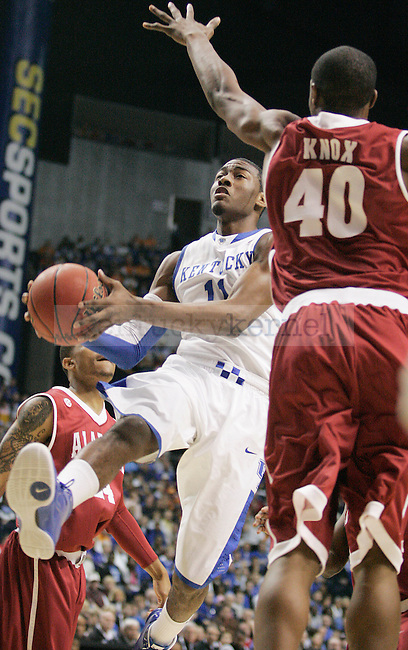 Freshman guard John Wall goes in for a lay up during the first  half of the UK mens basketball team's 73-67 win over Alabama in the quarterfinals of the SEC tournament at the Sommet Center Friday, March 12, 2010. Photo by Britney McIntosh | Staff