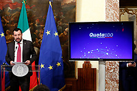 Matteo Salvini and on the screen the reform of board<br /> Rome January 17th 2019. Press conference of  the Italian premier and of the two vice premiers just after the Minister cabinet approved the reform of job (citizenship income) and board.<br /> Foto Samantha Zucchi Insidefoto