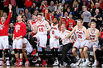 SIOUX FALLS, SD: MARCH 4: The University of South Dakota celebrates a basket in overtime against Western Illinois on March 4, 2017 during the Summit League Basketball Championship at the Denny Sanford Premier Center in Sioux Falls, SD. The Coyotes defeated the Leathernecks 78-69 to move to the semifinals on Monday. (Photo by Dave Eggen/Inertia)