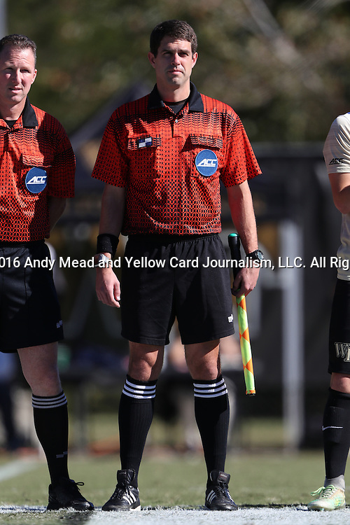 06 November 2016: Assistant Referee Hudson Owens. The Wake Forest University Demon Deacons hosted the University of Notre Dame Fighting Irish at Spry Stadium in Winston-Salem, North Carolina in a 2016 NCAA Division I Men's Soccer match and an Atlantic Coast Conference Men's Soccer Tournament quarterfinal. Wake Forest won the game 1-0.