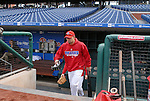 10/17/08 1:17:11 PM -- Philadelphia, PA, U.S.A. -- Philadelphia Phillies Shane Victorino steps out of the dugout before practice October 17, 2008 at Citizen's Bank Park in Philadelphia, Pennsylvania. Victorino showed the team that cast him aside that it made a costly error. The Philadelphia outfielder, who spent six years in the L.A. Dodgers' farm system, used key hits in pressure situations, including a triple, Game 4 eighth-inning homer and six RBI during the NLCS, to help the Phillies beat the Dodgers and reach their first World Series since 1993. -- ...Photo by William Thomas Cain/cainimages.com.