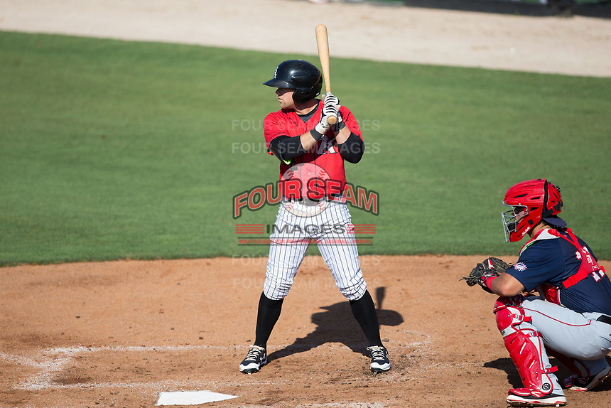 Tyler Sullivan (2) of the Kannapolis Intimidators at bat against the Hagerstown Suns at Kannapolis Intimidators Stadium on June 14, 2017 in Kannapolis, North Carolina.  The Intimidators defeated the Suns 4-1 in game one of a double-header.  (Brian Westerholt/Four Seam Images)