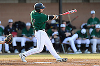 Left fielder Stephen Dowling (7) of the University of South Carolina Upstate Spartans bats in a game against the Citadel Bulldogs on Tuesday, February, 18, 2014, at Cleveland S. Harley Park in Spartanburg, South Carolina. Upstate won, 6-2. (Tom Priddy/Four Seam Images)