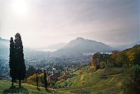 Veduta verso Lecco, il Lago di Como e il Monte Moregallo, dalla salita per la Grigna --- View of Lecco, Lake Como and Moregallo Mountain, from the climb on the Grigna