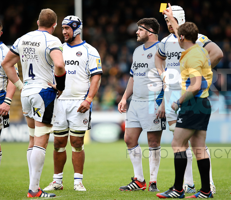 Bath's Leroy Houston is sin binned for upending London Wasps' Joe Simpson - Rugby Union - 2014 / 2015 Aviva Premiership - Wasps vs. Bath - Adams Park Stadium - London - 11/10/2014 - Pic Charlie Forgham-Bailey/Sportimage