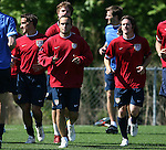 12 May 2006: Landon Donovan jogs around the field with Josh Wolff (l), John O'Brien (r) and other members of the team. The United States' Men's National Team trained at SAS Soccer Park in Cary, NC, in preparation for the 2006 FIFA World Cup tournament to be played in Germany from June 9 through July 9, 2006.