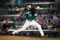 Fort Wayne TinCaps relief pitcher Evan Miller (33) delivers a pitch during a game against the West Michigan Whitecaps on May 17, 2018 at Parkview Field in Fort Wayne, Indiana.  Fort Wayne defeated West Michigan 7-3.  (Mike Janes/Four Seam Images)