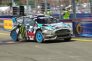 Washington, DC - June 22, 2014: Ken Block drives the #43 Ford Fiesta ST into the straightway after Turn 10 during the supercar semi-final race of Red Bull Global Rallycross on the grounds of RFK Stadium in the District of Columbia, June 22, 2014.  (Photo by Don Baxter/Media Images International)