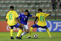 31st October 2019; Bezerrao Stadium, Brasilia, Distrito Federal, Brazil; FIFA U-17 World Cup Brazil 2019, Solomon Islands versus Paraguay; Alford Kanahanimae of Solomon Islands and Zani Sale, Rodrigo Lopez of Paraguay - Editorial Use
