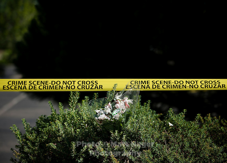 Flowers line bushes next to the Century 16 movie theater where James Holmes (cq), 24, is in custody and is suspected of killing 12 people and wounding many more in Aurora, Colorado, Saturday, July 21, 2012. The shootings occurred during the midnight premiere of the new Dark Knight Batman movie...Photo by MATT NAGER