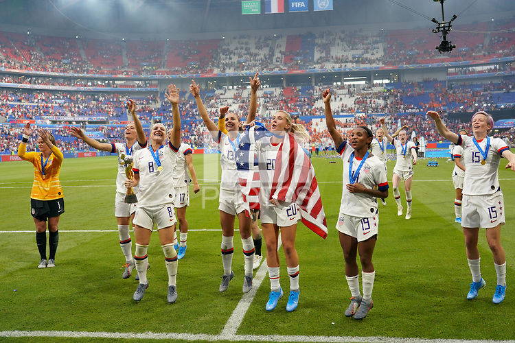 LYON, FRANCE - JULY 07: Julie Ertz #8, Alex Morgan #13, Allie Long #20, Crystal Dunn #19, Megan Rapinoe #15 after the 2019 FIFA Women's World Cup France final match between the Netherlands and the United States at Stade de Lyon on July 07, 2019 in Lyon, France.