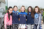 Leanne O'Meara, Laouise Kennedy, Claire McCarthy, Orna O'Leary and Katie Fitzgerald at the fundraising walk in aid of Roisin Collins with her family at the walk in Farranfore on Saturday