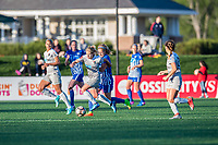 Boston, MA - Sunday May 07, 2017: Mccall Zerboni and Rosie White during a regular season National Women's Soccer League (NWSL) match between the Boston Breakers and the North Carolina Courage at Jordan Field.